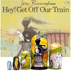 Join a boy and his stuffed-toy dog on a magical train ride. The pair meet endangered animals along the way--an elephant, seal, stork, tiger and polar bear--and invites them to climb aboard to safety. Each piece of the book's companion nesting doll illustr