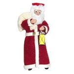 From the workshops of the Cepelia cooperative in Krakow comes this traditional St Nicholas carrying his lantern.  This is a hanger doll designed to be displayed on a tree or from an ornament holder.  Completely hand made using traditional materials includ