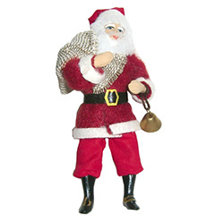 From the workshops of the Cepelia cooperative in Krakow comes this traditional St Nicholas carrying a bell.  This is a hanger doll designed to be displayed on a tree or from an ornament holder.  Completely hand made using traditional materials including p