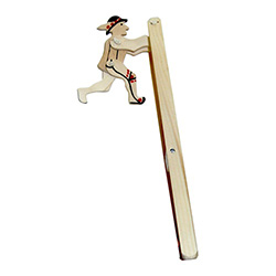 "Gently squeeze and release the bottom of this ""ladder"" and watch the Goral perform somersaults.  A great example of a folk toy employing some basic physics.  Not for children under four."