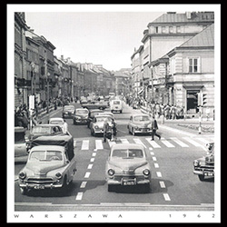 Nowy Swiat Street, 1962 Warsaw. These days Nowy Swiat is closed to all traffic except buses and taxis, but in 1962 it was a major traffic thoroughfare. Historical Black and White Photo Postcard