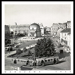 One of Warsaw's main squares was light on street traffic in those days.  The steps of the Church appear to be under renovation. Historical Black and White Photo Postcard from 1955.