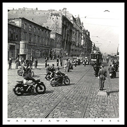 Jerusalem Avenue in downtown Warsaw in 1946 shows a city coming to life but still showing the affects of wartime destruction. Historical Black and White Photo Postcard taken by an anonymous photographer.