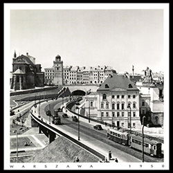 This photograph is of the bridge traffic from Praga to Warsaw over the Vistula approaching the tunnel under Old Town.  Not much traffic at all in those days. Historical Black and White Photo Postcard.