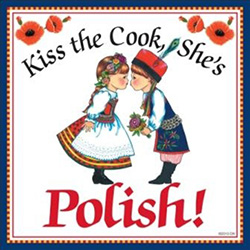 Colorful ceramic tile magnet.  Our couple are in their Polish Krakow costumes.
