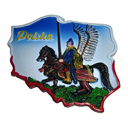 "Our magnet features the Polish Winged Hussar in an outline of Poland and the word ""Polska"" in the upper left.  See below for the history of these Polish knights."