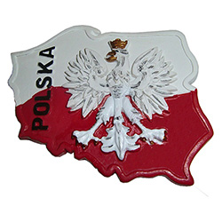 "Our magnet features Poland's emblem, the White Eagle, in an outline of Poland and the word ""Polska"" in the upper left."