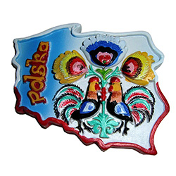 "Our magnet features colorful folk flowers and roosters, in an outline of Poland and the word ""Polska"" in the upper left."