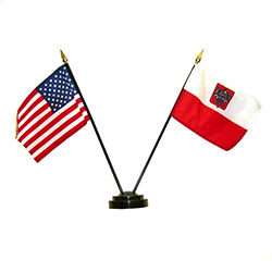 The flags of the U.S. and Poland (with the Eagle) are all parts of our cultural and religious heritage.  You may ask why this version of the Polish flag has the Polish Eagle?   There are actually two versions of the Polish flag.  The official version with
