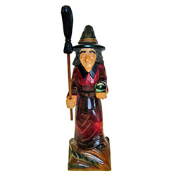 Affectionately called Baba Jaga in Polish, our Forest Witch is making her way through the forest with her crystal ball!  Hand carved and stained.  Colors vary....no two exactly alike.
