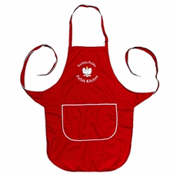 "Just what every Polish chef needs: A vibrant red kitchen apron, with the words: ""Polish Kitchen - Polska Kuchnia"" and the Polish eagle embroidered in white on the front panel.  Great for indoor use or that summer barbecue."