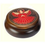 This beautiful box is made of seasoned Linden wood, from the Tatra Mountain region of Poland and a mushroom patch burned into the top. Round box with beautiful angel design accented with metal inlay.