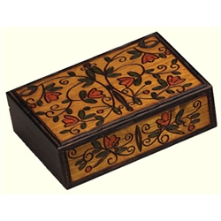 This beautiful box is made of seasoned Linden wood, from the Tatra Mountain region of Poland and a mushroom patch burned into the top. Hand burned and stained pattern on top and front. Carved borders, walnut and satin finish.