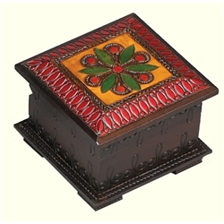 This beautiful box is made of seasoned Linden wood, from the Tatra Mountain region of Poland and a mushroom patch burned into the top. Intricate carving and brass inlaid, domed lid, bottom rim, footed base.