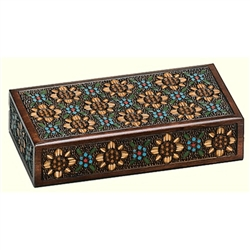 This beautiful box is made of seasoned Linden wood, from the Tatra Mountain region of Poland and a mushroom patch burned into the top. 2 compartments. Multicolored floral motif.