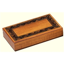 This beautiful box is made of seasoned Linden wood, from the Tatra Mountain region of Poland and a mushroom patch burned into the top. Maple finish, brass inlay.