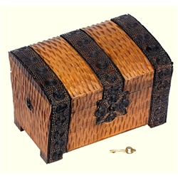 This beautiful box is made of seasoned Linden wood, from the Tatra Mountain region of Poland and a mushroom patch burned into the top. Deeply carved with hand burned and stained designs. Lock and key.