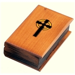 This beautiful box is made of seasoned Linden wood, from the Tatra Mountain region of Poland and a mushroom patch burned into the top. Hand carved and stained. Book shaped, featuring front and back cover, binding and carved pages.