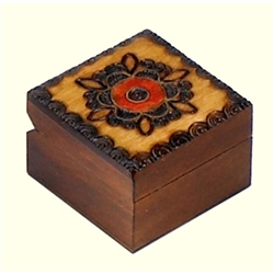 Hand painted and Small square box carved box with floral design on the lid.