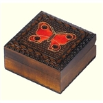 This square box features a colorful carved butterfly against a carved texture background and accented with metal inlay.