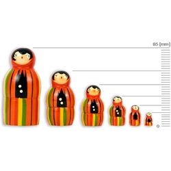 These nesting dolls come in a set of 6 ranging from 15 to 85 millimeters in size.  Made primarily from silver birch which is seasoned for a number of years before being cut and painted.