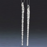 Boxed set of 6 glass icicles.  Each ornament is ready to hang  with its own nylon line.