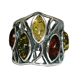 Large artistic five stone amber ring.
