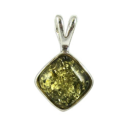 Green Color Amber Diamond Shaped Pendant.  Honey colored amber when painted black on one side changes the color on the other side to appear green.