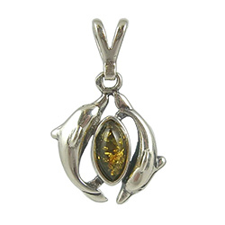Green Color Amber Color Sterling Silver Dual Dolphin Pendant. Honey colored amber when painted black on one side changes the color on the other side to appear green.