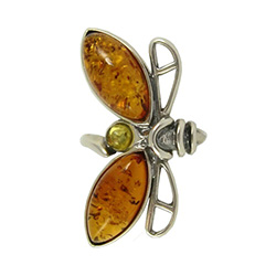 "Honey Amber Dragonfly Ring. 1.5"" - 3.5cm wide"
