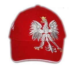 "Display the Polish colors of red and white with this handsome looking cap with detailed embroidery work.   The front of the cap features a large offset silver Polish Eagle with gold crown and talons.  On the back left side are the words ""Polska"" (Poland)."