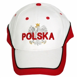 Display the Polish colors of red and white with this nicely detailed embroidery work on the front. The cap features a silver Polish Eagle with gold crown and talons.  Features an adjustable Velcro tab in the back.  Designed to fit most people.