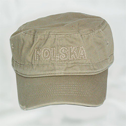 This military style khaki cap has the word POLSKA (Poland) embroidered on the front and a Polish flag on the back. .  Features an adjustable  Velcro tab in the back.  Designed to fit most people.