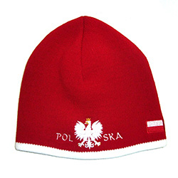 Display your Polish heritage! Red stretch ribbed-knit skull cap, which features Poland's national symbol the crowned white eagle in white italic letters below. Easy care acrylic fabric. One size fits most. Imported from Poland.