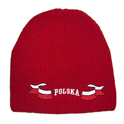 "Display your Polish heritage! Red stretch ribbed-knit skull cap, which features Poland's national flag on either side of the word ""Polska"" (Poland). Easy care acrylic fabric. One size fits most. Imported from Poland."