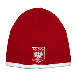 "Display your Polish heritage!  Red stretch ribbed-knit skull cap, which features Poland's national emblem below the word ""Polska"" (Poland).  Easy care acrylic fabric.  One size fits all.   Imported from Poland."