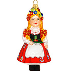 "Dress up your tree with a touch of Polish heritage! Passionately crafted from glass in Poland, this 4¾"" tall ornament depicts a beautiful Polish girl with braided hair wearing a crown of flowers and dressed in colorful, traditional garb. Subtle hints of g"