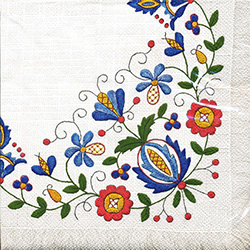 Polish Folk Art Napkins (package of 20) - 'Kaszub Fringe'.  Three ply napkins with water based paints used in the printing process.