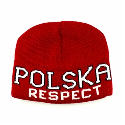 Display your Polish heritage!  Red and white stretch ribbed-knit skull cap with the word Polska (Poland) and Respect on the front.  Easy care acrylic fabric.  Once size fits most.  Imported from Poland.