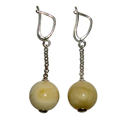Creamy Amber Ball Earrings, with European lever clasp.