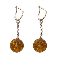 Honey Amber Ball Earrings with European lever clasp.