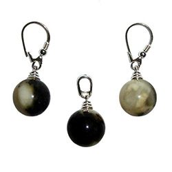 Marble color Amber Ball Earrings with matching Pendant.