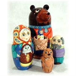"This matryoshka illustrates a fairy tale as well known in Russia as Goldilocks is in America. A young girl may not seem to have a chance after becoming lost in the woods and caught by a bear, but this story of ""brains over brawn"" shows how even a little g"