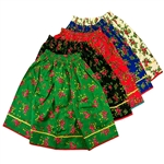 "Krakow/Goral flowered skirt.  One size fits most girls up to 50"" tall (4' 2"").  Stretch elastic waistband.  Skirts measure 18"" long (46cm) and can be rolled at the top to shorten the skirt if necessary."