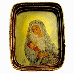Painting on glass is an art technique by which the artist paints a picture on the reverse side of a glass surface.  Magdalena Hniedziewicz specializes in religious themes. Each of her beautiful paintings is enclosed in a hand made paper mache frame with a