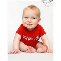 "This 100% cotton youth T-shirt, baby onesie romper, emblazoned with the question ""Got Pierogi?""."
