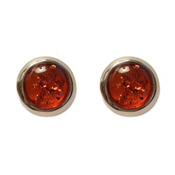"Attractive ""moons"" of amber surrounded in sterling silver."