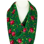 This beautiful green folk scarf/shawl has screen-printed red and green floral design.100% acrylic material. Made in Poland. Hand wash and line dry, cool iron.