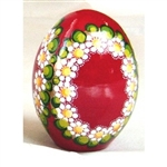 These beautiful goose size wooden eggs have a flat bottom so no stand is required.  The background color is red and the floral designs are different.  No two eggs are alike.