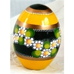 These beautiful goose size wooden eggs have a flat bottom so no stand is required.  The background color is yellow and the floral designs are different.  No two eggs are alike.